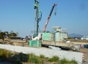 地盤改良工事中の土地