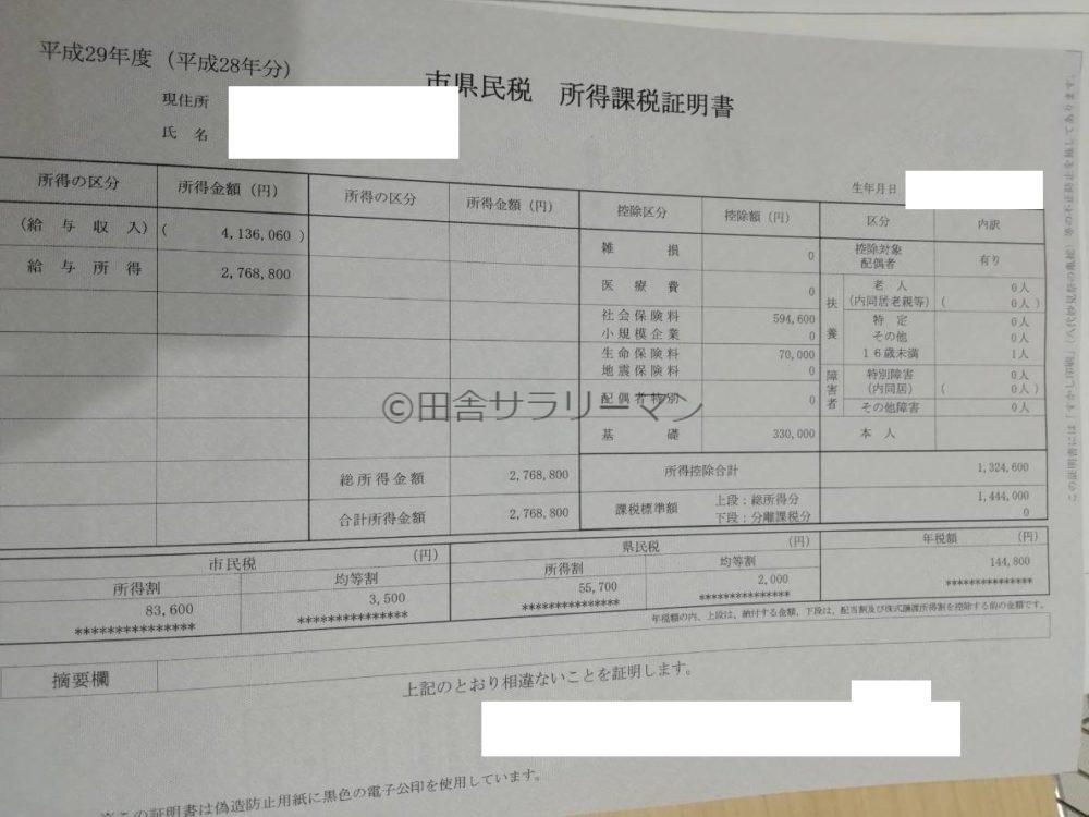個人住民税の課税証明書