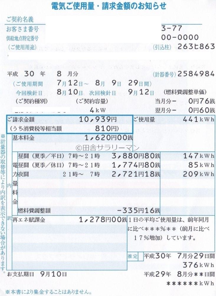 2018年8月の電気料金明細書