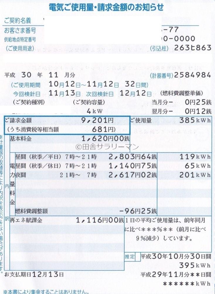 2018年11月の電気料金明細書
