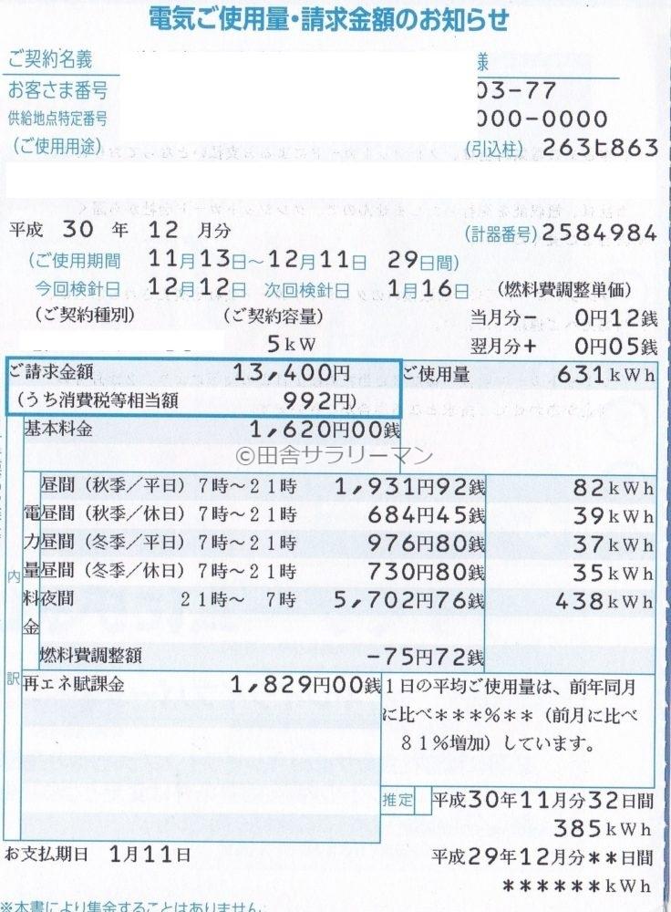 2018年12月の電気料金明細書