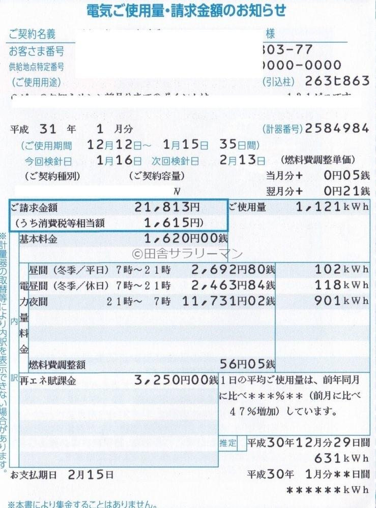 2019年1月の電気料金明細書