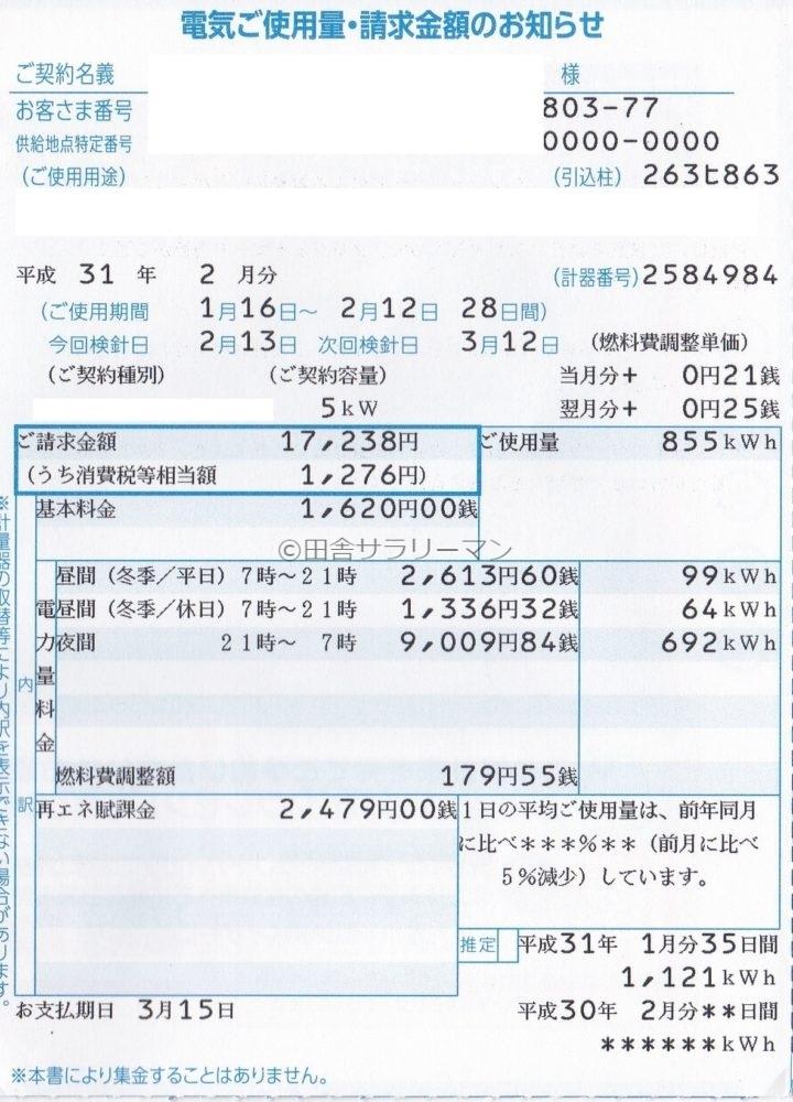 2019年2月の電気料金明細書