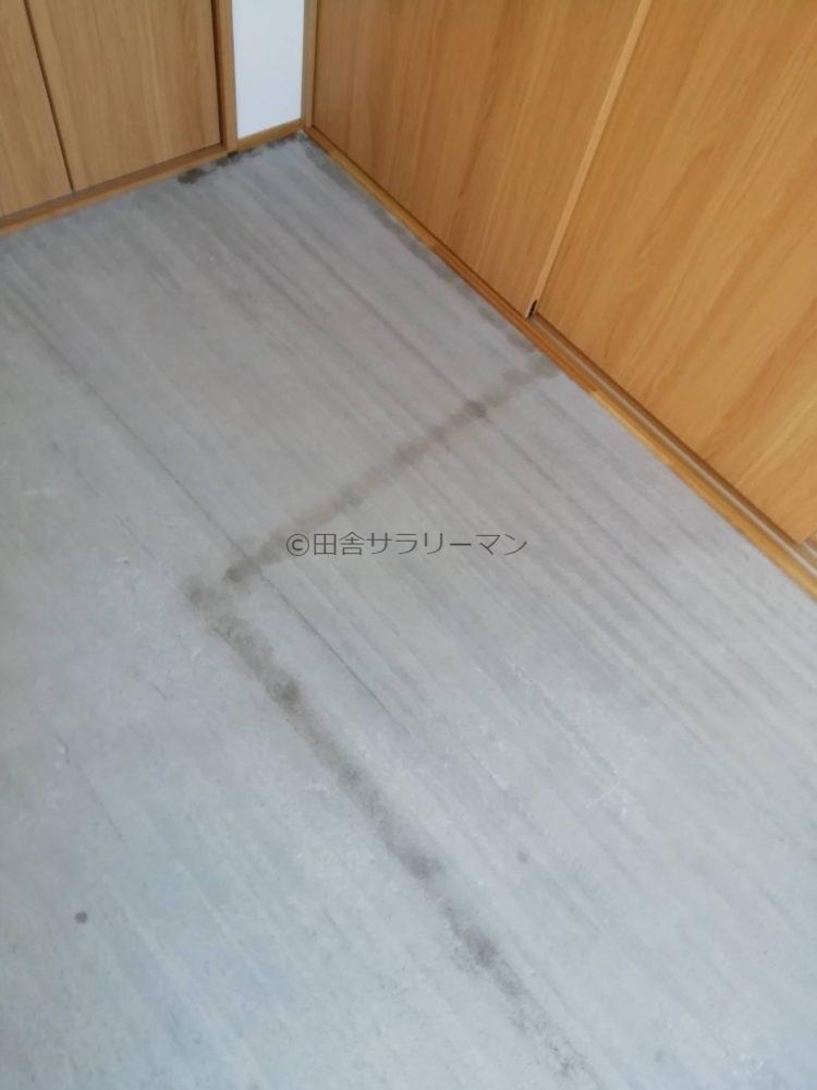エタノールをかけた直後のコンクリート床
