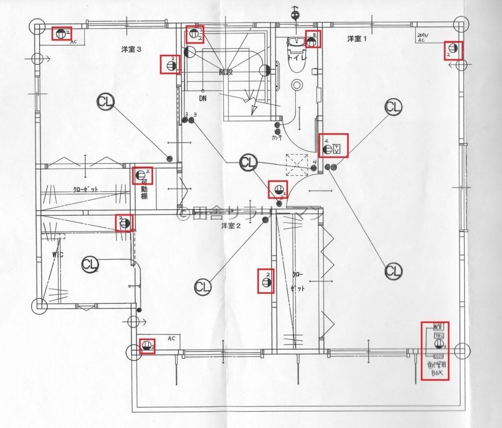 我が家の2階のコンセント配置図